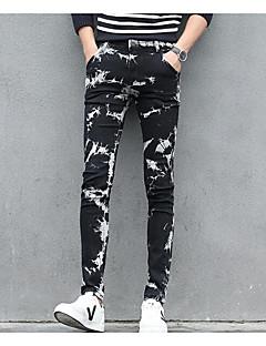 billige Herrebukser og -shorts-menns vanlige midterstigende mikro elastiske jeansbukser, street chic geometric polyester alle årstider