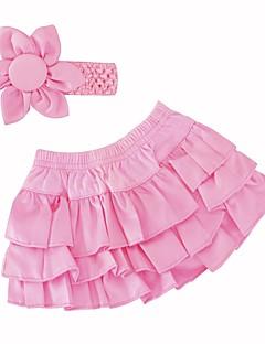 billige Sett med babyklær-Baby Pige Tøjsæt Daglig Ferie Ensfarvet, Bomuld Sommer Uden ærmer Sødt Rød Lyserød Rosa