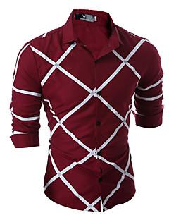 お買い得  メンズシャツ-メンズビジネスビジネスプラスサイズナイロンスリムシャツ - ストライプシャツの襟