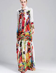 Χαμηλού Κόστους Φορέματα Μεγάλα Μεγέθη-Γυναικεία Μεγάλα Μεγέθη Αργίες Βασικό Θήκη Φόρεμα - Συνδυασμός Χρωμάτων Μακρύ Κολάρο Πουκαμίσου