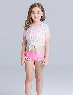 billige Badetøj til piger-Pige Sødt Aktiv Blomstret Badetøj, Nylon Halvlange ærmer Blå Grøn Lyserød