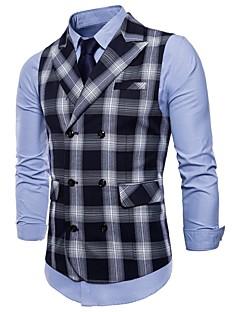cheap Waistcoats-Men's Daily / Holiday Active Spring / Fall Plus Size Regular Vest, Plaid Peaked Lapel Sleeveless Polyester Green / Black / Red XXL / XXXL / 4XL / Slim