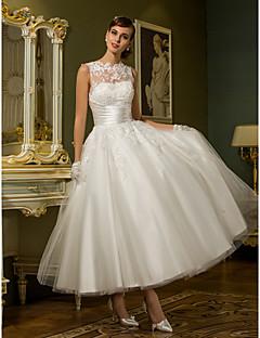 Χαμηλού Κόστους Δοκιμάστε το στο σπίτι-Δείγμα προϊόντος Πριγκίπισσα Illusion Seckline Μέχρι τον αστράγαλο Δαντέλα πάνω από τούλι Φορέματα γάμου φτιαγμένα στο μέτρο με