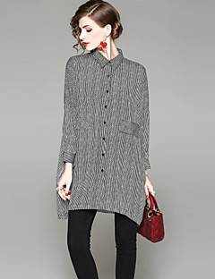 billige Dametopper-Skjorte Dame-Stripet Grunnleggende