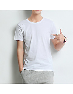 billige Herremote og klær-Bomull Rund hals T-skjorte Herre - Ensfarget