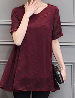 billige Bluse-Dame-Ensfarvet Trykt mønster Basale Bluse
