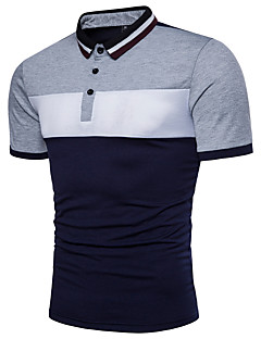 cheap Men's Clothing-Men's Active Cotton Polo - Color Block Black & White, Basic Shirt Collar / Short Sleeve