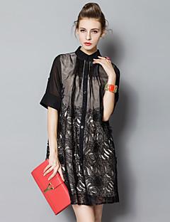 Χαμηλού Κόστους PROVERB-Γυναικεία Κομψό στυλ street Φαρδιά Φόρεμα - Μονόχρωμο Ως το Γόνατο Όρθιος Γιακάς