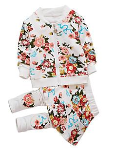 billige Tøjsæt til piger-Pige Tøjsæt Daglig Sport Ensfarvet Blomstret, Bomuld Polyester Forår Efterår Langærmet Simple Afslappet Hvid