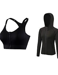 billige Løbetøj-Dame Aktiv beklædning sæt Langærmet Åndbarhed SportsBH'er / Hattetrøje for Jogging Polyester Rosa / Grøn / Blå S / M / L