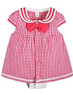 billige Babytøj-Baby Pige En del Daglig Ternet, Bomuld Sommer Kort Ærme Sødt Aktiv Lyserød Gul