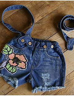 billige Bukser og leggings til piger-Pige Overall og jumpsuit Blomstret, Polyester Sommer Blå Lyseblå