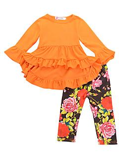 billige Tøjsæt til piger-Pige Ferie Skole Ensfarvet Blomstret Tøjsæt, Bomuld Forår Efterår Langærmet Sødt Boheme Sort Orange Rosa