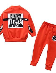billige Tøjsæt til drenge-Drenge Tøjsæt Daglig Farveblok, Polyester Forår Langærmet Simple Sort Orange