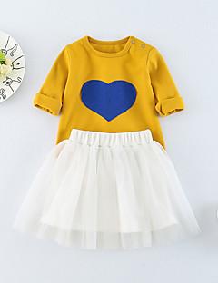 billige Sett med babyklær-Baby Pige Tøjsæt Daglig Trykt mønster, Bomuld Polyester Spandex Forår Sommer Halvlange ærmer Aktiv Lyserød Gul