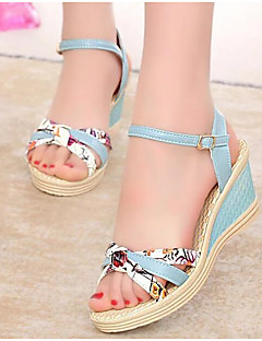 cheap -Women's Shoes PU Spring Summer Comfort Sandals Wedge Heel for White Pink Light Blue