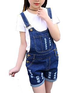 billige Tøjsæt til piger-Pige Tøjsæt Daglig Ferie Ensfarvet Stribet Trykt mønster, Bomuld Polyester Forår Sommer Kortærmet Simple Aktiv Hvid Sort