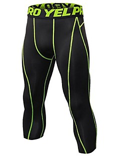 billige Løbetøj-Herre Løbebukser 3/4 - Sort / Sølv, Sort / Rød, Sort / Grøn Sport 3/4 Tights Fitness, Træningscenter, Træning Sportstøj Letvægt, Hurtigtørrende, Anatomisk design Elastisk