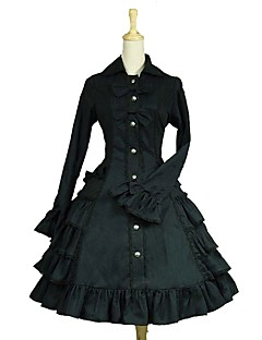 cheap Lolita Dresses-Gothic Lolita Dress Classic Lolita Dress Rococo Women's Adults' Dress Cosplay Black Puff/Balloon Long Sleeves Knee Length