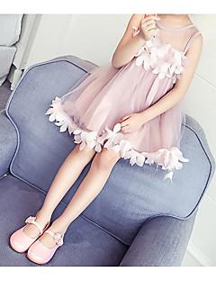 お買い得  ガールズウェア-女の子 シンプル 活発的 祝日 ソリッド ノースリーブ ドレス
