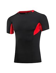 billiga Träning-, jogging- och yogakläder-Herr T-shirt för jogging - Blå, Svart / röd, Grå sporter T-shirt Kortärmad Sportkläder Mateial som andas Elastisk
