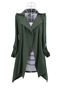 cheap Women's Coats & Trench Coats-Women's Cotton Trench Coat - Solid Colored Shirt Collar