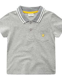 billige Overdele til drenge-Drenge Daglig Ensfarvet Skjorte, Polyester Forår Sommer Kortærmet Gade Mørkegrå Grå Marineblå