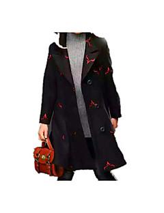 tanie Odzież dla dziewczynek-Kurtka / płaszcz Kaszmir Bawełna Dla dziewczynek Codzienny Szkoła Kwiaty Nadruk Zima Wiosna Długi rękaw Prosty Vintage Black Czerwony