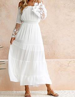 Χαμηλού Κόστους Γυναικεία Φορέματα-Γυναικεία Παραλία Swing Φόρεμα - Συμπαγές Χρώμα, Δαντέλα Μακρύ Ώμοι Έξω Άσπρο