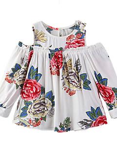 billige Pigetoppe-Pige T-shirt Daglig I-byen-tøj Blomstret, Bomuld Polyester Forår Sommer Langærmet Afslappet Hvid