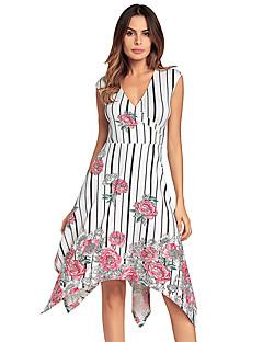 Χαμηλού Κόστους Prugasto & Καρό-Γυναικεία Swing Φόρεμα - Φλοράλ, Χιαστί Ασύμμετρο Ψηλή Μέση Λαιμόκοψη V
