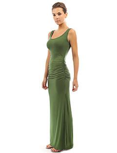 Χαμηλού Κόστους Επιλογές Συντακτών-Γυναικεία Βασικό Βαμβάκι Θήκη Φόρεμα - Μονόχρωμο Μακρύ Ψηλή Μέση / Άνοιξη / Καλοκαίρι