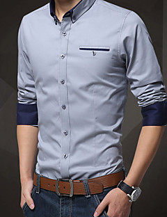 billige Plus Størrelser-Herre-Tynd Herre - Ensfarvet Skjorte / Langærmet