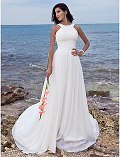 Χαμηλού Κόστους Δοκιμάστε το στο σπίτι-Δείγμα προϊόντος Γραμμή Α Με Κόσμημα Ουρά Σιφόν Φορέματα γάμου φτιαγμένα στο μέτρο με Που καλύπτει / Πιασίματα με LAN TING BRIDE®