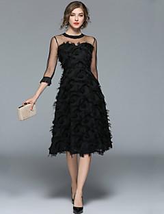 Χαμηλού Κόστους Μάρκες-Γυναικεία Εξόδου Βίντατζ / Κομψό στυλ street Γραμμή Α / Little Black Φόρεμα - Μονόχρωμο, Φούντα Μίντι