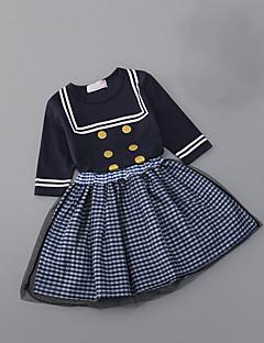 billige Tøjsæt til piger-Pige Daglig Skole Prikker Stribet Tøjsæt, Bomuld Polyester Sommer 3/4-ærmer Sødt Hvid Navyblå