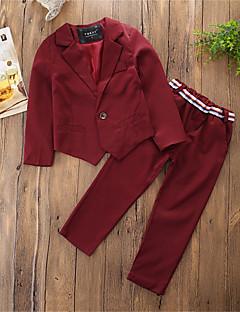 billige Tøjsæt til drenge-Drenge Tøjsæt Fest Daglig Ensfarvet Trykt mønster Farveblok, Bomuld Polyester Vinter Forår Langærmet Afslappet Rød Marineblå