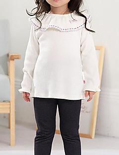 billige Pigetoppe-Pige Daglig Ensfarvet T-shirt, Polyester Efterår Vinter Langærmet Gade Beige