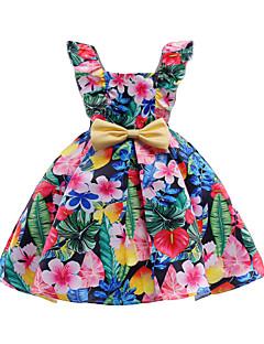 billige Pigekjoler-Pigens Kjole Daglig I-byen-tøj Blomstret, Bomuld Polyester Forår Sommer Uden ærmer Sødt Aktiv Regnbue