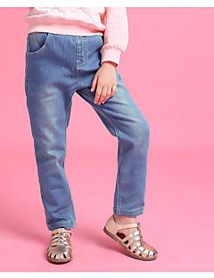 billige Bukser og leggings til piger-Pige Bukser Daglig Ensfarvet, Bomuld Hør Bambus Fiber Akryl Forår Uden ærmer Simple Blå