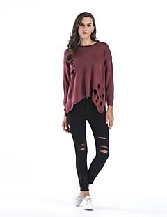 tanie Swetry damskie-Damskie Pulower - Wycięcia, Solid Color Długi rękaw