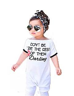billige Babytøj-Baby Pige En del Daglig I-byen-tøj Ensfarvet Trykt mønster Dyretryk, Bomuld Forår Sommer Kort Ærme Simple Sødt Hvid