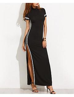 baratos Vestidos de Mulher-Mulheres Tubinho Vestidinho Preto Vestido - Fenda, Estampa Colorida Longo