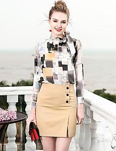billige Dametopper-Silke Tynn Peter Pan-krage Skjorte Dame - Geometrisk, Trykt mønster