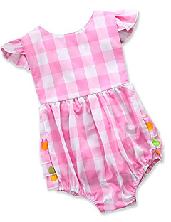billige Babytøj-Baby Pige En del Fest Daglig Blomstret Trykt mønster Ternet, Bomuld Polyester Sommer Kort Ærme Sødt Basale Lyserød