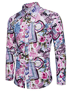 cheap Men's Shirts-Men's Plus Size Linen Shirt - Floral