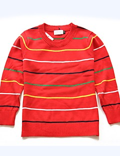 billige Sweaters og cardigans til piger-Unisex Trøje og cardigan Daglig Ferie Stribet, Bomuld Forår Efterår Langærmet Simple Rød Navyblå