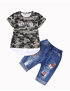 tanie Odzież dla chłopców-Dla chłopców Codzienny Sport Nadruk Komplet odzieży, Bawełna Poliester Lato Krótki rękaw Podstawowy Army Green