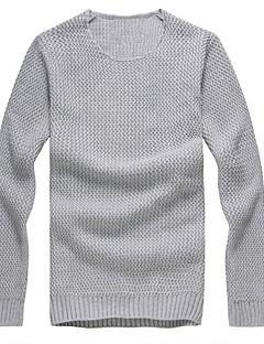 tanie Męskie swetry i swetry rozpinane-Męskie Sport / Weekend Aktywny Okrągły dekolt Szczupła Pulower Jendolity kolor Długi rękaw