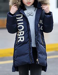 tanie Odzież dla dziewczynek-Odzież puchowa / pikowana Bawełna Poliester Dla dziewczynek Jendolity kolor Długi rękaw Na co dzień Navy Blue